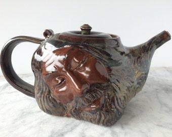 Dreamer Teapot Face Sculpture, Surreal Art Pottery Head Of A Bearded Man, Serving Wizard Vessel