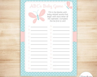 Butterfly ABCs Baby Shower Game - Baby ABC Game - Butterfly Girl Baby Shower - Pink and Blue - PRiNTABLE, INSTANT DOWNLOAD