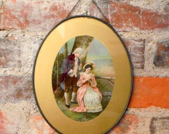 "Vintage Oval Metal Frame 18th Century Lovers Daisy Picture Hanging Chain 9"" x 7"""