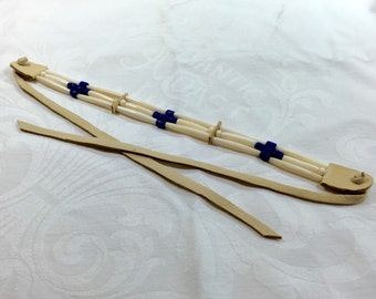 hair pipe choker, bone and glass, necklace, native american style, american indian style, pow wow regalia, indigo blue tile beads deer