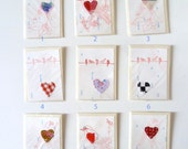 Valentine Shabby Chic Birds and Hearts Greeting Cards, Unique, Original, Upcycled, Stitched, Printed, Rubberstamped, Birds Hearts Love Notes