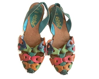 Vintage 80s huarache sandals, Rainbow leather flats, sz 5 1/2