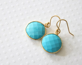 Large Turquoise Round Earrings, Dangle Earrings, Real Stone Earrings, Large Stone Earrings, Blue Turquoise Earrings, Everyday Earrings