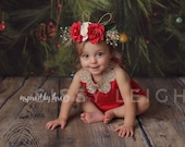 Red Romper with Gold Sequined Collar Christmas Birthday Infant Baby Girl Toddler Cake Smash Photo Outfit