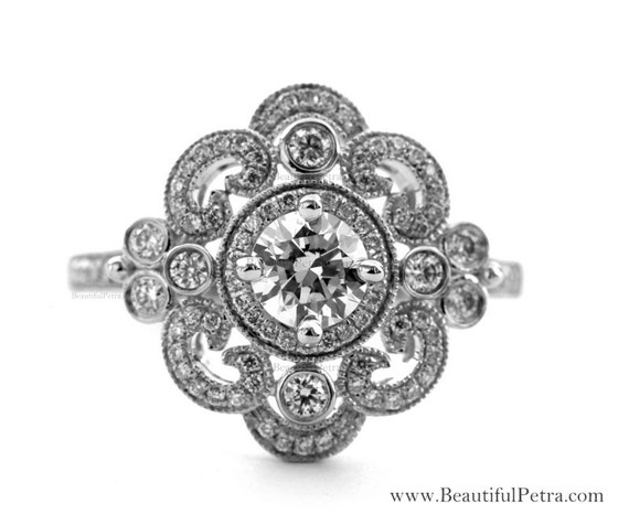 DUCHESS - Diamond Engagement Ring or Right Hand ring SEMI-MOUNT-14K white gold - Weddings- Luxury- Brides - art deco - BP0011