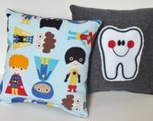 Tooth Fairy Pillow, Super Hero Pillow, Tooth Pillow with Pocket, Child Pillow, Tooth Pillow for Boys, Boy Tooth Pillow