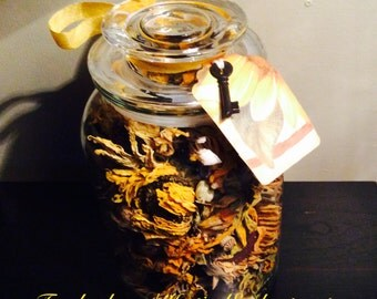Dried Sunflowers and Rudbeckia Glass Apothecary Jar