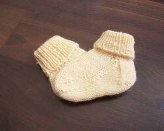 Hand Knitted Wool Baby Socks Handknitted Baby Wool Socks Hand Knit Wool Socks First Baby Socks MADE TO ORDER
