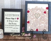 Wedding guestbook Drop Box Guest Book  box wedding guest book and Unique Heart Guestbook 120 hearts