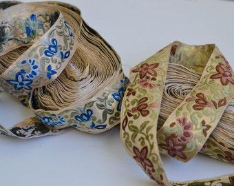 Vintage Bohemian Sewing Trim, Embroidered Flower Print Trim, Craft Ribbon, Vintage Trim Destash