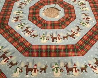 Christmas to Remember Snowman & Reindeer Octagon Christmas Tree Skirt - TWO Sizes (IN STOCK)