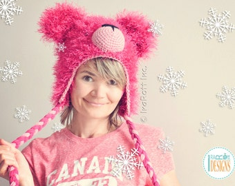 CROCHET PATTERN Fluffy the Classic Bear Hat PDF Crochet Pattern with Instant Download