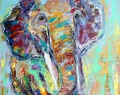 Original oil painting abstract Elephant portrait palette knife impressionism on canvas fine art by Karen Tarlton