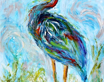 Blue Heron painting original oil on canvas palette knife 18x24 impressionism fine art by Karen Tarlton