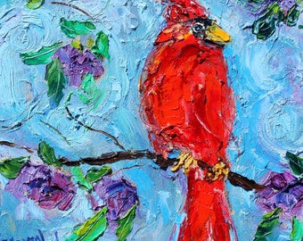 Original oil painting Spring Cardinal Bird abstract impressionism fine art impasto on canvas by Karen Tarlton