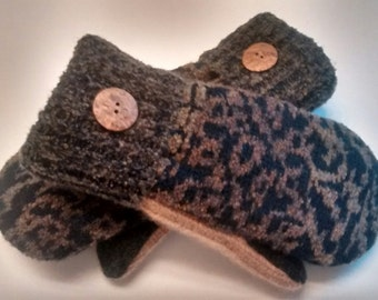 Animal print mittens, black, gray, brown, recycled sweaters, women's mittens, fleece lined mittens, etsy sweater mittens
