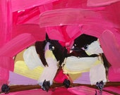 Two Chickadees no. 78 Original Bird Acrylic Painting by Angela Moulton 6 x 6 inch on Birch Plywood Panel