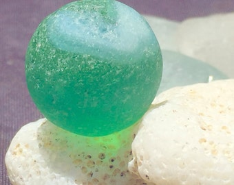 Sea Glass!  Beach Glass! Hawaii Beaches Sea Glass MARBLE Stunning Swirly Blue/Green!  Beach Glass Marble! Bulk Sea Glass!
