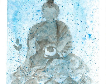 Buddha painting, Zen Buddha, Zen Fine Art Watercolor Painting, zen decor, japanese style, spiritual art, Buddhist art, yoga art, taoist art