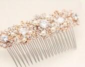 Bridal hair comb rose gold Rhinestone Bridal comb,Wedding hair comb pearl,Wedding headpiece,Wedding hair accessories,Wedding decorative comb