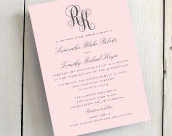 Wedding Invitations - Classic Monogram - JPress Designs, blush, grey, classic, elegant, simple, modern, quality, calligraphy, monogram