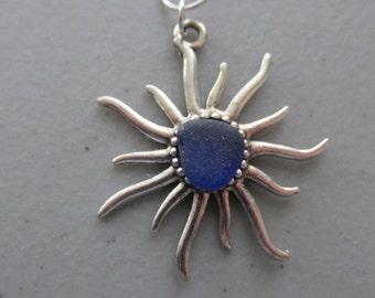 Sun Jewelry,Sun Pendant, Sea Glass Pendant, Blue Necklace,  Seaglass Jewelry, Beach Glass Jewelry, Gift for Her,