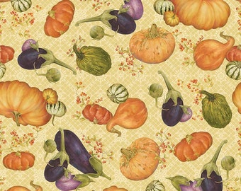 Autumn Hues Main Cream Fabric ~ C5220-Cream ~ Autumn Fall Seasonal Fabric - Harvest Pumpkins Gourds ~ BTY Yardage