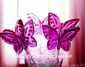 BUTTERFLY Garden Lollipops- Hard Candy Favors- Perfect for your Garden Party