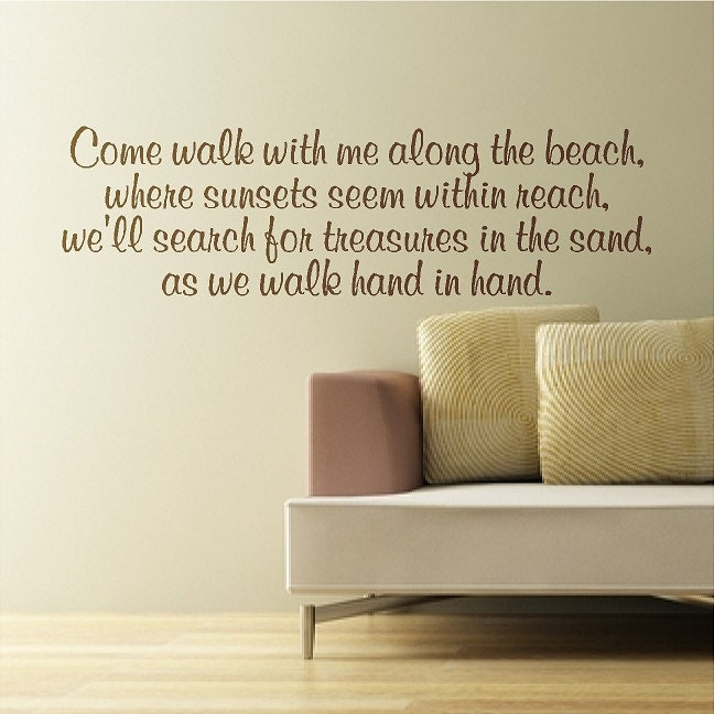 Come Walk With Me Along The Beach Beach Wall Quote Words - Wall decals beach quotes