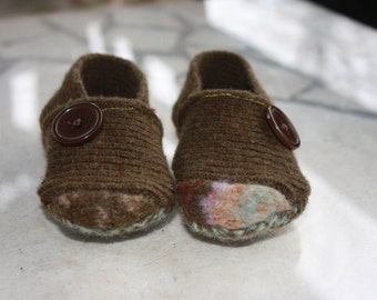 Upcycled wool soft soled baby shoes slippers