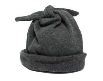 Beanie Baby Hat | Charcoal Grey Pull-On Baby Cap | Modern Dark Gray Top Knot Infant Hat |  Newborn Babe Gray Hospital Homecoming Hat