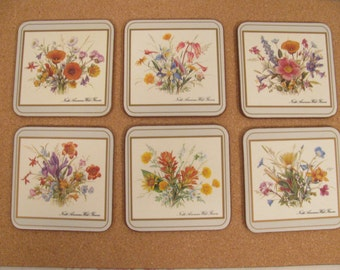 Vintage Pimpernel Coasters Set of 6 - Featuring North American Wild Flowers - Set of 6 - Made in England -