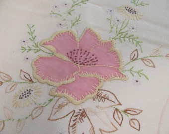 Vintage Pink Flower Applique  - Embroidery - Crochet Trim - Cotton Table Runner or Dresser Scarf - Best Condition