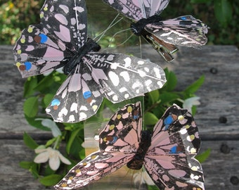 3 - Black-Light Pink Feathers  Butterflies Hair Clips for weddings