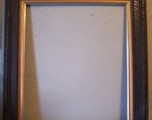 Valentines SALE Older Carved Wood Picture Frame, Painted Black with Gold Trim, Picture 16 1/2 x 13 1/2