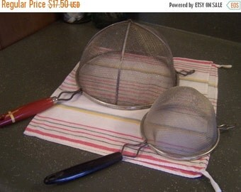 SALE Vintage Screen Mesh Strainers, (2) Small & Extra Lg Red Handled Utensils, Colander, Photography Props, Farmhouse Country Kitchen