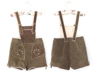 Vintage Toddler Lederhosen * Leather Overall Shorts * German Folk Heart Shorteralls * size 3 4