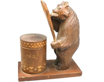 Vintage Russian bear statuete with sugar bowl wooden carved