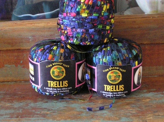 discontinued lion brand trellis ribbon ladder yarn