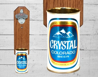 Crystal Colorado Wall Mounted Bottle Opener with Vintage Beer Can Cap Catcher