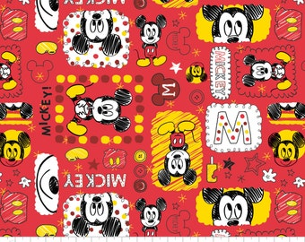 Mickey in Ruby -  Licensed Disney Fabric  - 1 yard 24 inches