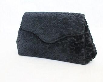 Carpet Bag Clutch Vintage 60s Solid Black Floral Jana