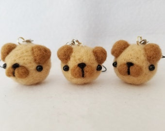 Pug Keychain, Pug Charm, Handmade Needle Felt Pug Charm, Pug Doll, Pug Dog, Cute Pug Charms, Kawaii Pug Charms, Pug Lovers