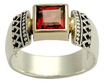 Sterling silver ring, silver ring, yellow gold ring, two-tone ring, Victorian ring, red garnet ring, January birthstone ring - Triumph R0184