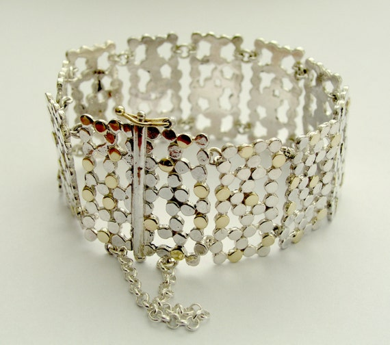 Two tone bracelet, dots bracelet, links bracelet,  Sterling silver and yellow gold bracelet, dotted bracelet - Sensational effects. B6606G