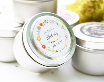 25 Wedding Favors Soy Candles in 2 Oz.Travel Tin with Personalized Label