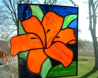 Stained Glass Orange Lily Flower Panel Window Hanging Suncatcher