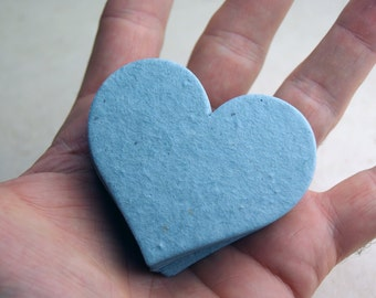 "Large Blue Seed Paper Hearts 2.85""w x 2.5""h Wildflower Blue Lotka Recycled Fibers #34s for Weddings or Events"