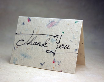 Junk Mail and Wildflower Seeds Handmade Blank Recycled Thank You Cards