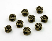 10 pcs Zinc Antique Brass Rose Beads Charms Pendants Decorations Findings 8x12 mm. BD RO 812 38